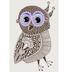 Original ethnic decorative owl ink hand drawing vector