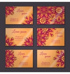 Vintage visiting card set floral mandala vector