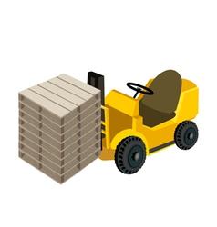 A forklift truck loading stack of wood pallets vector