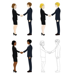 Business woman and man hand shake vector