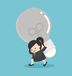 Business woman carrying light bulbs with many vector