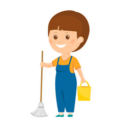 Cartoon cleaner with bucket vector