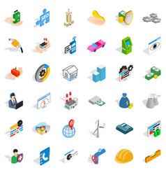Company icons set isometric style vector