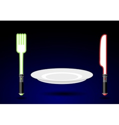 Cutlery from future knife and fork as light sword vector