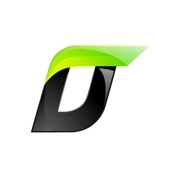 D letter black and green logo design Fast speed vector image vector image