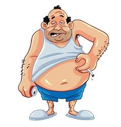 Fat man smoking and drinking coke vector