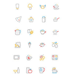 Food colored outline icons 9 vector