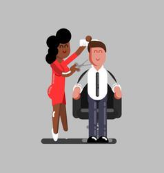 Hair dresser cuts clients hair vector