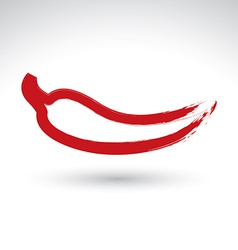 Hand-painted simple red hot chili pepper icon vector image vector image