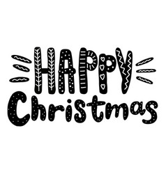 happy christmas text hand drawn design for vector image vector image