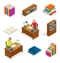isometric educational concept library elements vector image vector image