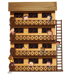 Kids on different floors of the house vector