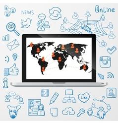 Laptop social media design vector image vector image