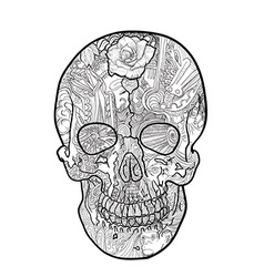 Line art and tattoo of skull vector image vector image