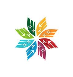 Logo star flit away travel plane vector