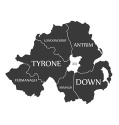 northern ireland map labelled black vector image