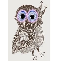 original ethnic decorative owl ink hand drawing vector image