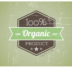 quality retro label green organic vector image