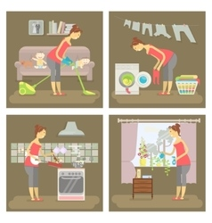 Set of housewife in funny cartoon vector image vector image
