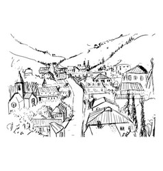 sketch of mountain landscape with georgian town vector image