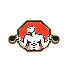 Strongman lifting kettlebell front retro vector