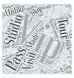 Universal studios tours vip studio pass word cloud vector