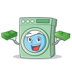 with money washing machine character cartoon vector image