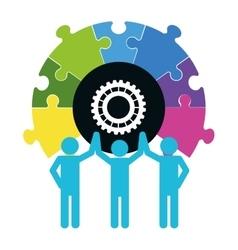 Pictogram puzzle gear teamwork support design vector