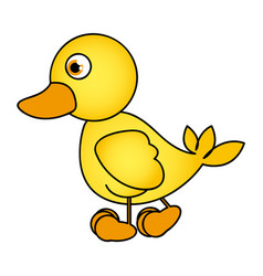 caricature yellow duck side view animal icon vector image