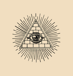 all-seeing eye freemasonry pyramid vector image