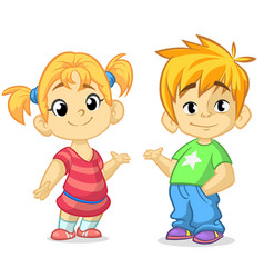 cute cartoon boy and girl vector image