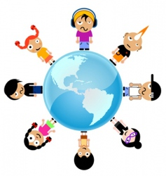 cartoon kids around the world vector image