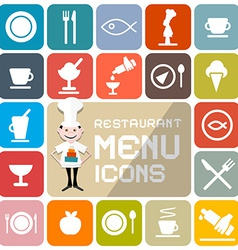 Restaurant menu colorful flat design icons vector
