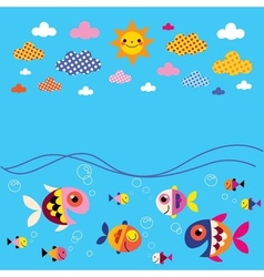 Fish sea clouds sun summer background vector