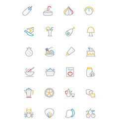 Food colored outline icons 10 vector