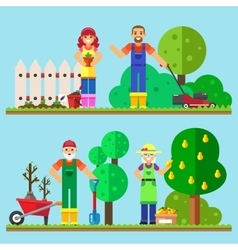 Happy family gardening working in the garden vector
