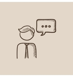 Man with speech square sketch icon vector