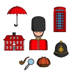 Travel landmarks of london colored sketch vector
