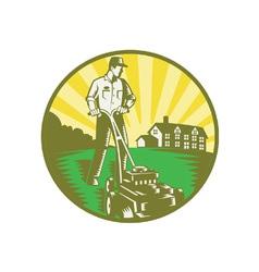 Gardener mowing lawn vector