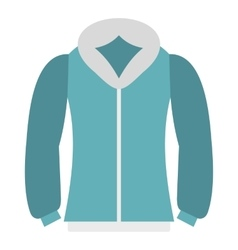 Blue mens winter jacket icon flat style vector
