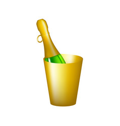 Bottle in golden bucket vector
