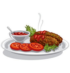 Burgers with tomato sauce vector