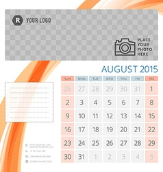 Calendar 2015 august template with place for photo vector