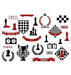Chess game and heraldic design elements vector image vector image