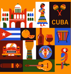 cuba travel icons vector image vector image