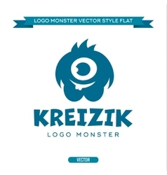 Cute blue monster character with a kind-eyed vector image
