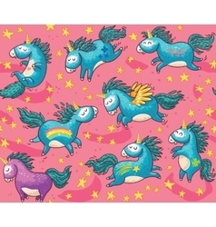 Cute seamless pattern with unicorns in the pink vector
