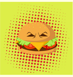 danger burger monster pop art design vector image vector image