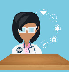 Doctor with stethoscope and medical icons vector