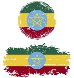 Ethiopian round and square grunge flags vector